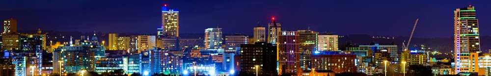 Leeds Sky Line at night. Leeds escorts thrive after sunset